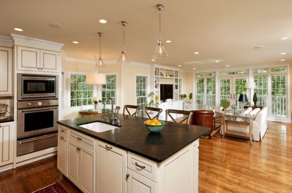 White Country Open Kitchen Design with Beautiful Kitchen Island and Breakfast Area