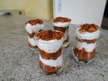 Verrines chèvre et tomates au basilic