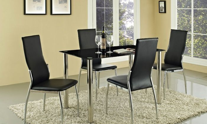 Groupon Goods Global GmbH: Rome Glass Dining Table Set with Four Chairs for £124.98 With Free Delivery (Up to 69% Off)