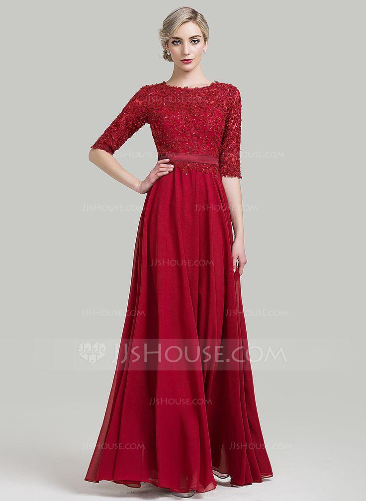 A-Line/Princess Scoop Neck Floor-Length Beading Sequins Zipper Up Sleeves 1/2 Sleeves No Burgundy Winter Spring Fall General Plus Chiffon Evening Dress