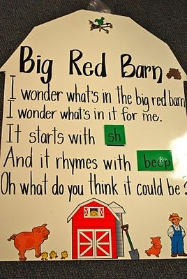 Big Red Barn Poem and chart for farm theme