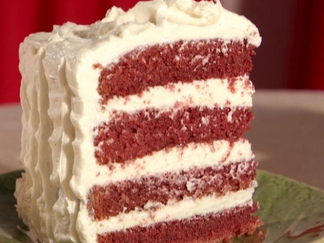 Red Velvet Cake : Bobby adds extra cocoa powder to his Throwdown Red Velvet Cake, so it's a more natural color instead of overly red.