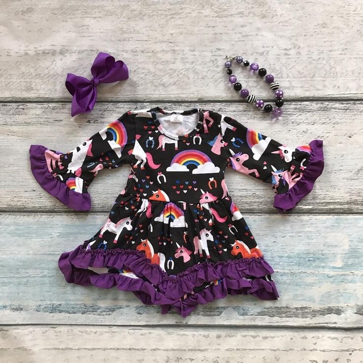 Magical Rainbow Unicorn Girls Ruffle Dress