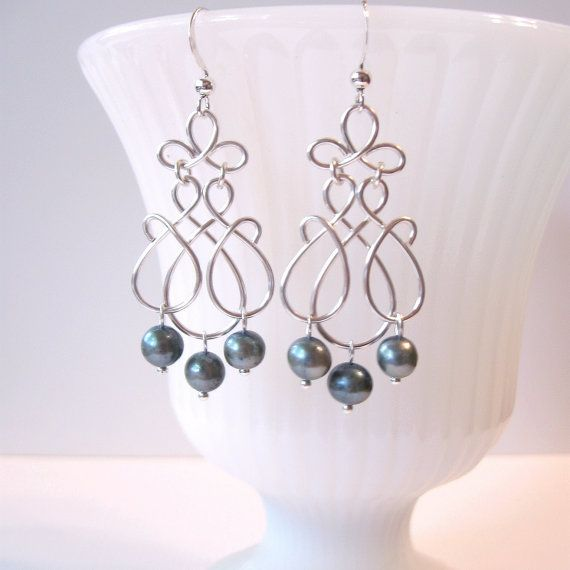 Silver Wire Work Pearl Earrings - Wire Work Scrolls - Teal Freshwater Pearls - Chandelier Earrings -