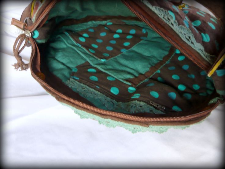 Handmade by Judy Majoros - Brown-turquoise Round polka dots  bag. Leather strap. Recycled bag