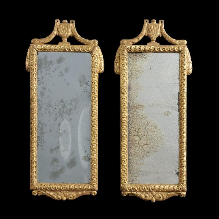 A beautiful #pair of 18th century #gilt wood #mirrors with #guilloched #frames surmounted with classic vases. For sale on Proantic by Tarquin Bilgen Antiques.