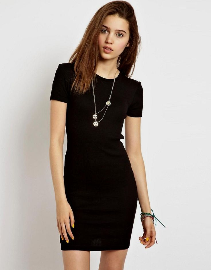 Asos Bodycon Dress with Ruched Bust and Short Sleeves in Purple