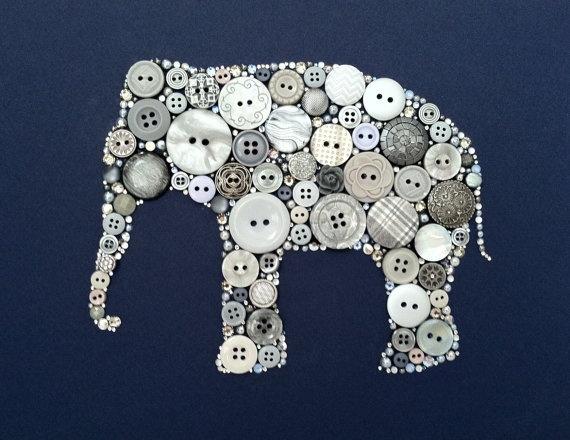 Elephant Art Button & Swarovski Art