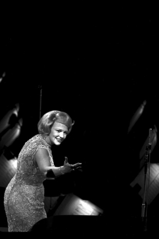 "Singer Peggy Lee on stage at Madison Square Garden during a ""Birthday Salute"" in honor of President Kennedy, New York, May 19, 1962."