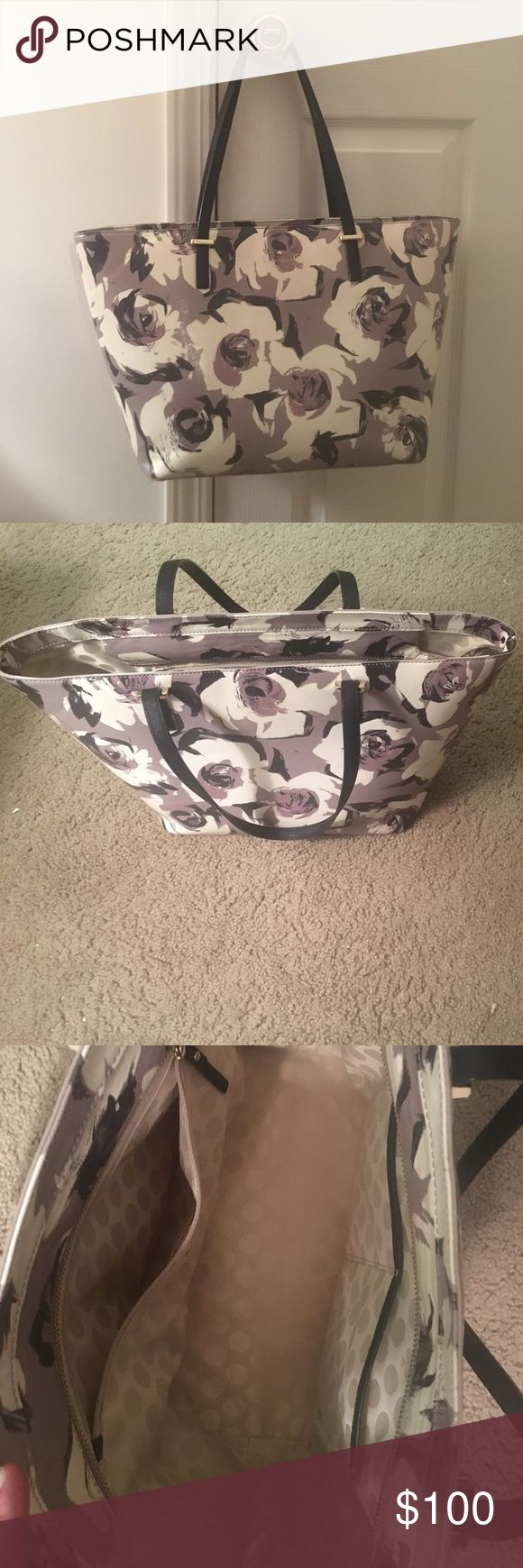 Kate Spade grey and black floral tote Really cute tote bag, not the original buyer but in great condition. The outside pattern is predominately grey-purple with white and black flowers, the inside is lined with cream polka dots. Picture included shows size reference kate spade Bags