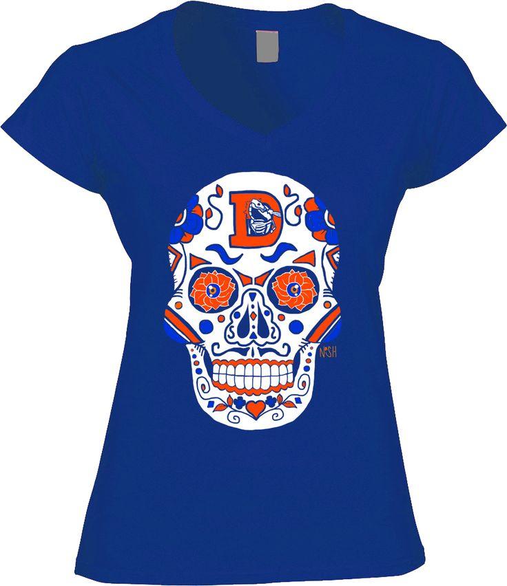 Broncos Sugar Skull - Womens VNeck