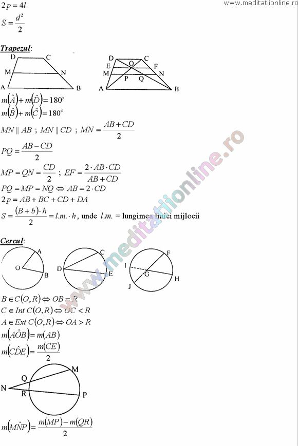 Formule matematica gimnaziu 5 8 Formule si teorie Geometrie plana si in spatiu si Trigonometrie pagina 10