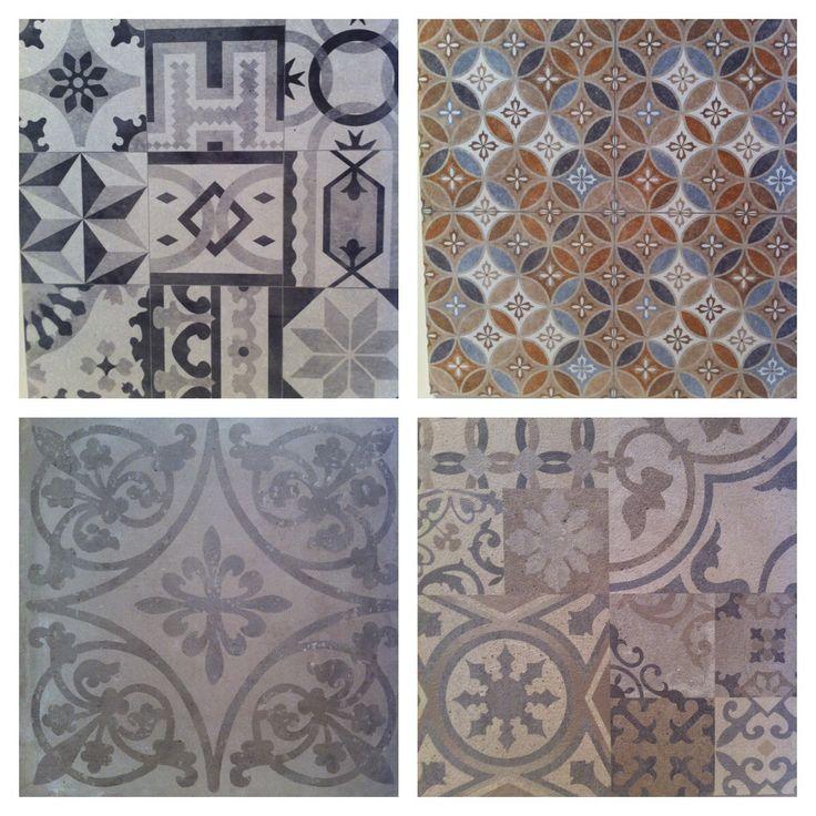 Vloertegel decors ; terug van weggeweest. Afmetingen 59,6x59,6 en 80x80.