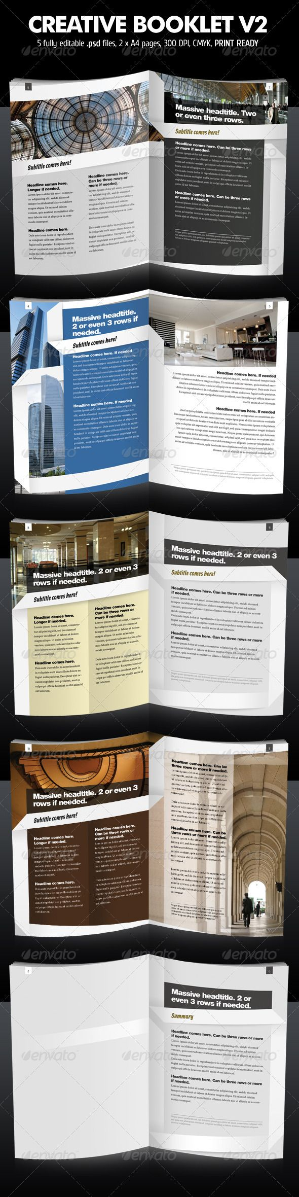 Creative Booklet / Brochure V2 - Corporate Brochure Template PSD. Download here: http://graphicriver.net/item/creative-booklet-brochure-v2/397269?s_rank=728&ref=yinkira