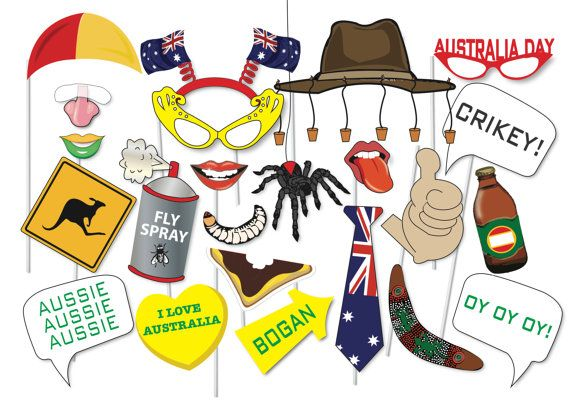 Great Australia Day Photo booth Party Props Set - 42 Piece PRINTABLE - Australia Day Photo Booth Props, flag, crocodile, witchetty grub