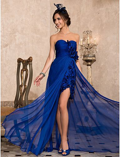 Formal Evening Dress - Open Back Sheath / Column Strapless / Sweetheart…
