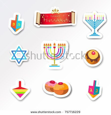 Hanukkah Holiday greeting poster traditional symbols donuts cakes, dreidel spinning top, menorah candles with fire flame, candelabrum, David star, scroll banner vector stickers set Festival logo flat