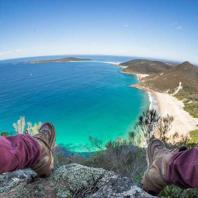 Zenith Beach from Mt. Tomaree Summit. This is arguably the most photographed view in Port Stephens (and the best in Australia!). Mt. Tomaree summit is approximately a 30-minute walk from the base near Shoal Bay.