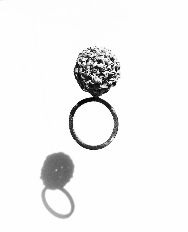 """Laura Stefani, Eva Franceschini, ring from """"Palline"""" collection, recycled plastic bottle, silver, 2017"""