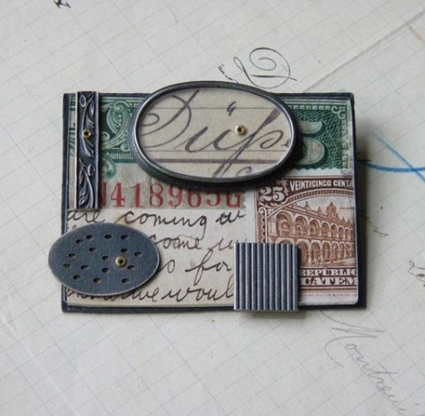 "Collage brooch ~ Italy oval -  Clare Hillerby - - at ""Forming Words"" Flow gallery"