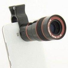 8X nagyítású teleobjektív, optika mobiltelefonra, tabletre, táblagépre. Univerzális csipeszes tartóval!