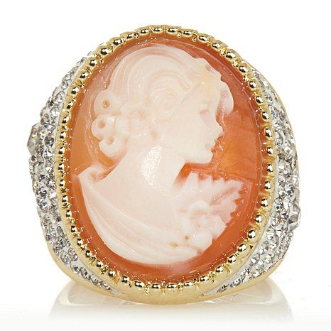 "RP:  AMEDEO NYC® ""Luccica"" 20mm Cornelian Cameo Crystal Gallery Ring at HSN.com"