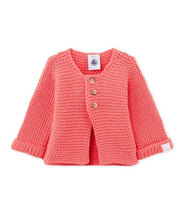 Puff sleeve petite cardigan with strawberry