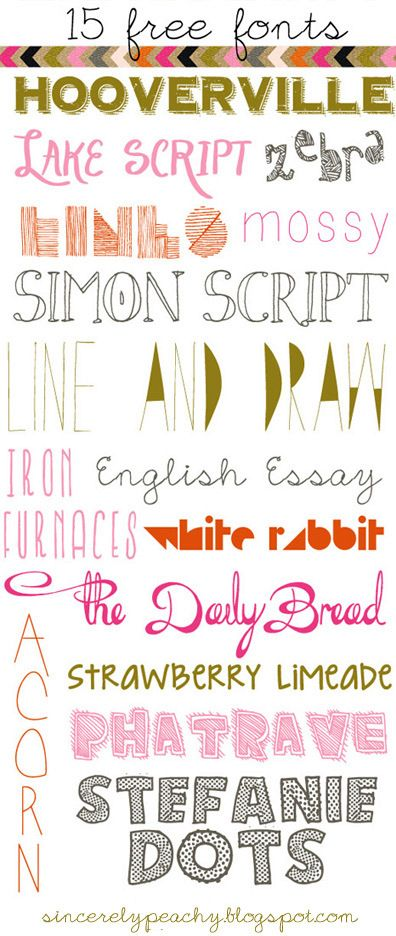 DIY Fifteen Free Fonts Listed by Sincerely Peachy here. For more unique fonts from Harry Potter to unicorns go here: truebluemeandyou.tumblr.com/tagged/font