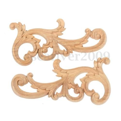 Wood-Carved-Corner-Onlay-Applique-Unpainted-Furniture-Home-Decor-26x12cm