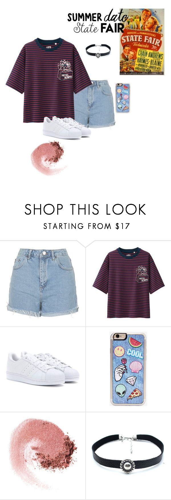 """""""state fair (why is staying harder than leaving?)"""" by petewentzstan ❤ liked on Polyvore featuring Topshop, Uniqlo, adidas, Zero Gravity, NARS Cosmetics, Child Of Wild, statefair and summerdate"""