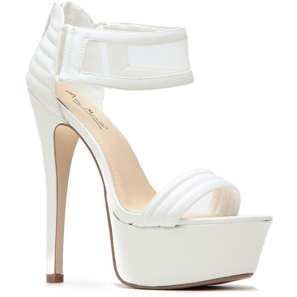 CiCiHot Turn It Up Mesh Contrast White Heels ($36) ❤ liked on Polyvore featuring shoes, pumps, white court shoes, white open toe pumps, strap shoes, cushioned shoes and mesh shoes