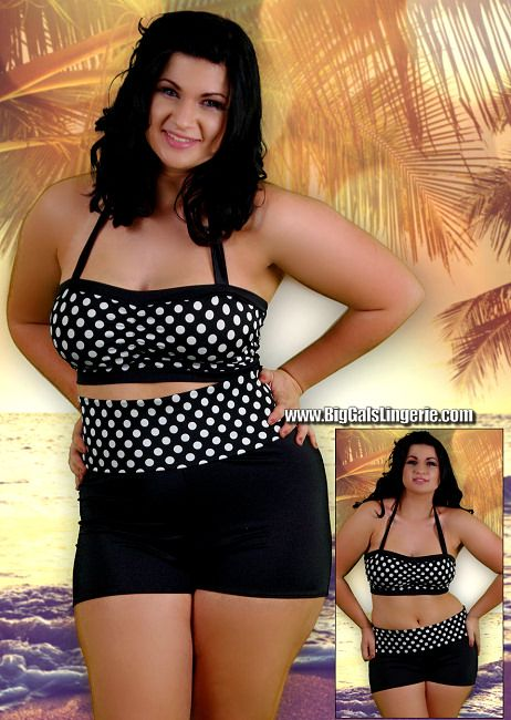 Plus Size Retro Look Polka Dot tankini featuring a gathered double banded bandeau top with neck tie and boyshorts with roll down waist band. Wear the waistband up to cover your stomach or roll it down to show more off!  $68.00 Sizes: 1X-12X