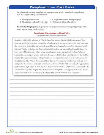 Paraphrasing and summarizing worksheets lessons