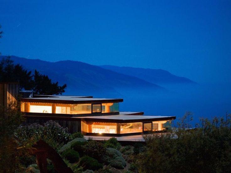 Post Ranch Inn Big Sur, California tree outdoor sky house night mountain reflection evening morning dusk sign hillside