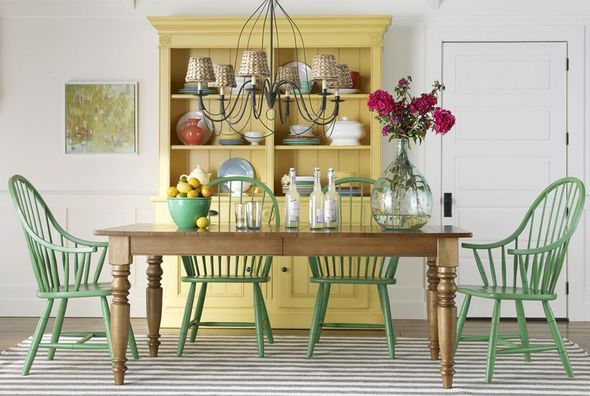 Dining Room - pick a farm table, mix with any shape painted chair... add a complimentary colored storage piece and you've got a statement!