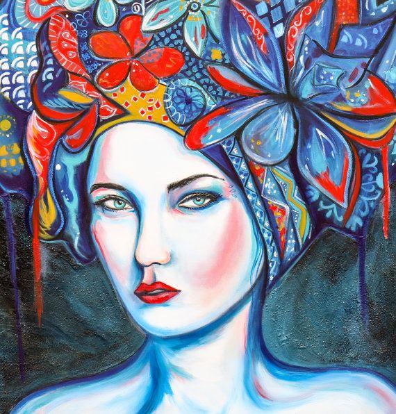 Original painting on round canvas modern women by SharelCilliers
