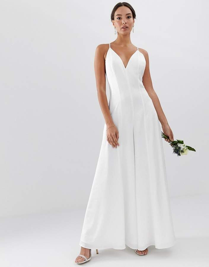 17e8226f2c3 ASOS EDITION Plunge Cami Wide Leg Wedding Jumpsuit in Satin #asos #ad