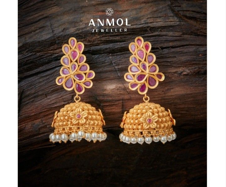 Beautiful Gold Jhumki with real ruby work. 23ct hallmarked earing design. #anmol_jeweller  #gold #jhumki #earing #hanging #jewel #jewelery #stylish #designer #antique #traditional #artwork #royal #lavish #justin #jeweloftheday #ootdfashion #pearl #ruby  For queries call or watsapp: 9910401704.  To place order mail us at:Anmol.jeweller01@gmail.com