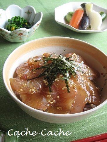 ヒラマサの漬け丼、あら煮、小鉢祭り♪ by カシュカシュさん | レシピ ...