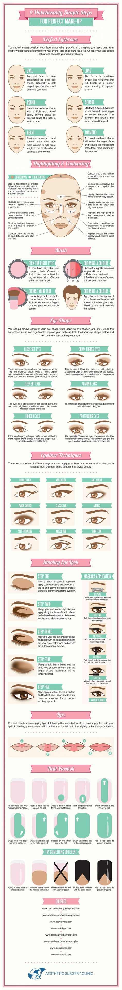 Eye Liner Guide: 9 Simple Steps to Perfect Makeup via Visual.ly Best Blushes for Your Skin Type via Makeup Blushing Basics via The Glitter Guide Best Brows for Your Face Shape via Your Beauty Blog