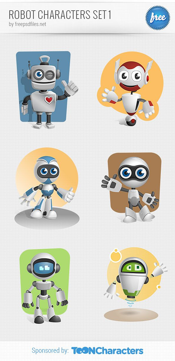 Cartoon Characters As Robots : Robot vector character set featuring awesome types of