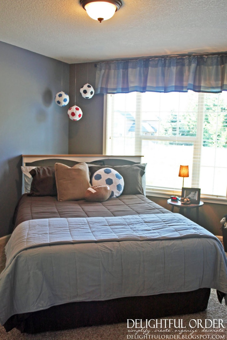 Boys soccer bedroom ideas - I Like The Hanging Soccer Balls Wonder If It Would Work With Footballs Sports Theme Roomssports Room Decorboys
