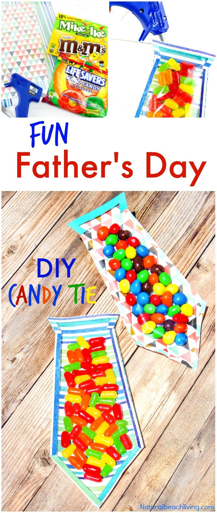 The Best DIY Father's Day Card, Father's Day Candy Tie, Great craft idea for kids, The Perfect DIY Father's Day Tie, Handmade Gifts are the best