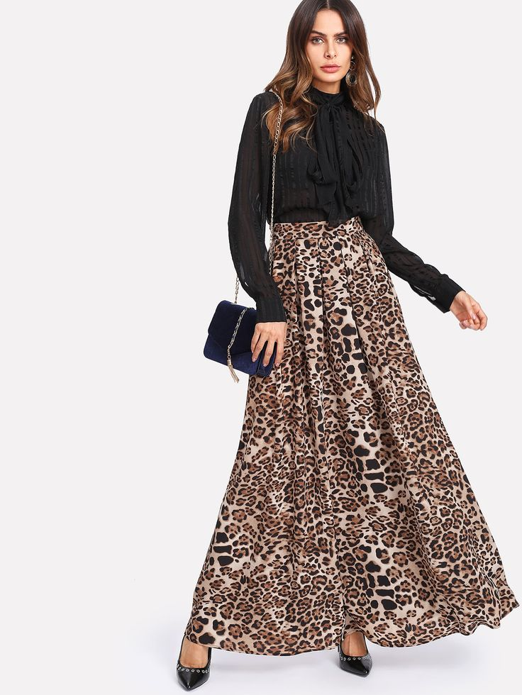 Shop Box Pleated Leopard Maxi Skirt online. SheIn offers Box Pleated Leopard Maxi Skirt & more to fit your fashionable needs.