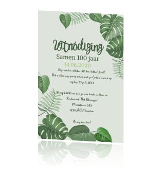 Uitnodigingskaart verjaardag samen 100 met groene bladeren