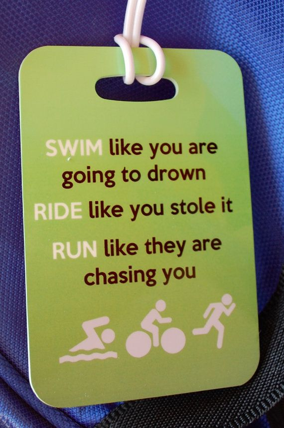 Triathlon Bag Tag Swim Bike Run by FlipTurnTags on Etsy, $5.95