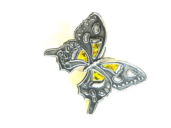 Embellishment Butterfly yellow inlay for Journal Kindle by Loutul, £17.00