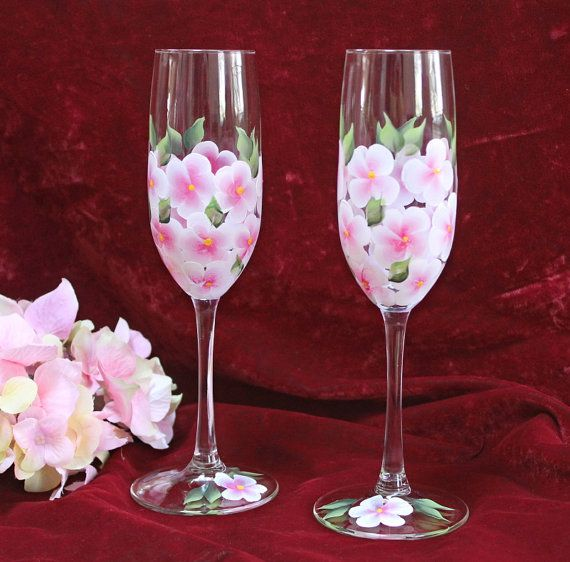 Set of 2 Hand Painted Champagne Flutes - Pink and White Hydrangeas