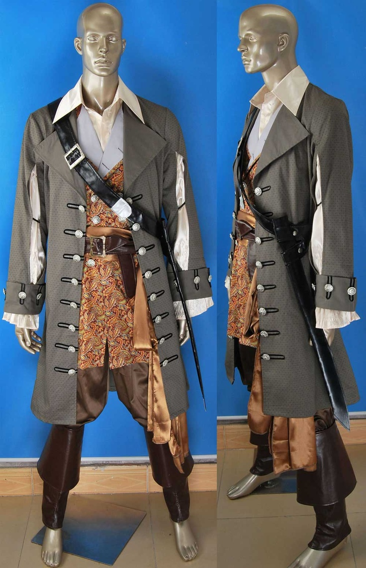 Pirates of the Caribbean: On Stranger Tides Captain Hector Barbossa cosplay costume deluxe express pre-made or custom-tailored. Include: overcoat + vest + shirt + pants + boots cover + sword sets + sash. View more Pirates of the Caribbean Hector Barbossa costumes