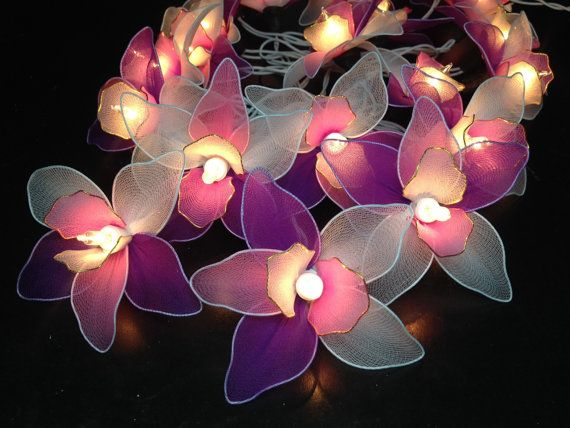 20 Pink-White-Purple Orchid Flower Fairy String Lights Hanging Wedding Gift Party Patio Indoor Bedroom Fairy Lights Romantic lights